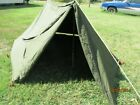 Military Shelter Half 1/2 Pup Tent Vietnam Style Army With Poles Stakes Complete
