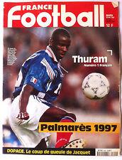 FRANCE FOOTBALL 30/12/1997; Thuram/ Palmarès 1997/ Dopage/ Maroc/ Raï/ Campora