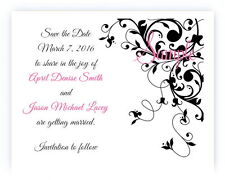 100 Personalized Custom Black Swirl Floral Bridal Wedding Save The Date Cards