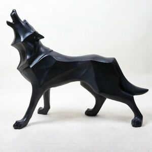 Totem Wolf Statue Abstract Animal Sculpture Resin Figurine Modern Home Decoratio