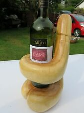 LARGE HAND CARVED PHALLIC PENIS SOLID SUAR WOOD WINE BOTTLE HOLDER