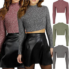 Polyester Polo Neck Stretch Cropped Tops & Shirts for Women