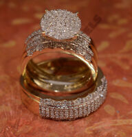 his her matching engagement ring wedding band vvs diamond trio set 14k gold over