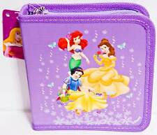 Disney Princesses Ariel Snow White Bell Holds 24 CD or DVD Case Purple