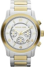 Michael Kors Watch * MK8283 Large Runway Chronograph Gold and Silver w/Flaw