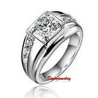 18k White Gold Plated Made with Swarovski Crystal Men Ring R13