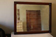 """Antique Beveled Glass Wood Framed Vintage Dresser Mirror 27"""" x 33"""""""