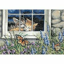 Gold Collection Petite Feline Love Counted Cross Stitch Kit 7x5 18 Count