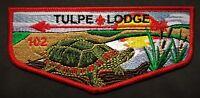 TULPE OA LODGE 102 BSA NARRAGANSETT COUNCIL RI TURTLE RED BORDER  SERVICE FLAP