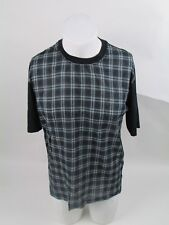 LANVIN SIZE S CHECK FRONT BLACK T SHIRT AUTHENTIC