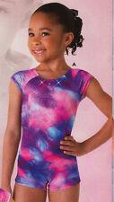 NWT Axis Gymnastic Biketard Shorty Unitard Glitter Tie Dye w/Scrunchie Girls Tot
