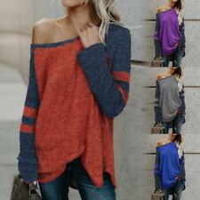 Women Sweaters Long Sleeve Slash Neck Tops Autumn Knit Pullovers Plus Size Tops