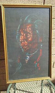 NANCY MCLAUGHLIN POWELL (1932-1985) PASTEL PAINTING PAPER ART NATIVE AMERICAN MT