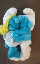 Vintage Smufrs 10 inch Plush Doll Lot ~Smurfette Hugging~ 1981 Peyo