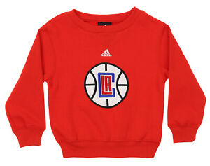 Adidas NBA Kids Los Angeles Clippers Fleece Crewneck Pullover Sweater, Red