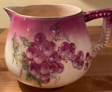New ListingAntique Pitcher Grapes Leaves Purple Ceramic