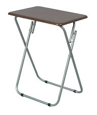Folding Table Silver Coated With Natural Wood, 19 X 15 X 26 Inches