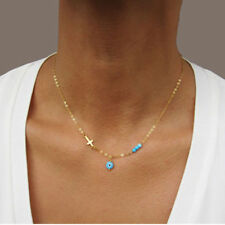 Glass Blue Beads Evil Eye Necklace Fashion Cross Choker Necklaces For Women