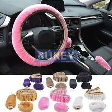3Pcs Car Warm Plush Steering Wheel Cover Handbrake Gear Knob Winter Furry Fluffy