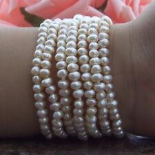 CZ LClasp 7 Strands White Pearl Bracelet