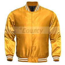 Varsity Baseball Letterman College Bomber Jacket Supreme Quality Golden Satin