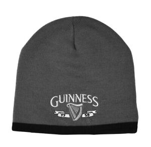 Unisex Beanie Hat Guinness Grey, Silver Logo And Black Trim, One size,  Acrylic