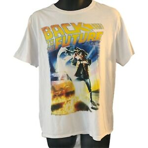 Back To The Future Men's T Shirt Medium White Classic Movie Poster Image