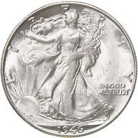 1946 D Walking Liberty Half Dollar 90% Silver UN US Coin