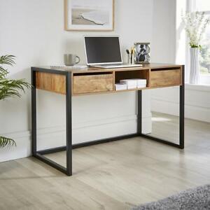 Smoked Oak Office Desk Workstation 2 Drawer Shelf Storage PC Black Metal Legs