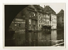 Strasbourg : bords de l'Ill près du Pont Saint-Martin c. 1935 - Photo vintage