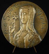 Médaille ç la Virege Marie Ave Maria Odette Songla sc 96 mm c1960 Virgin medal