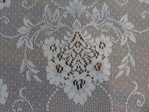 Beautiful Vintage Lace Fabric 4 Drapes ORNATE VICTORIAN ROMANTIC Pattern Creamy