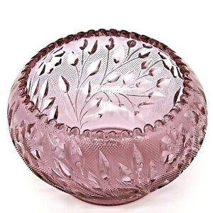 Vintage Purple Glass Bowl Floral Leaf Design Saw-Tooth Edge Amethyst Candy Dish