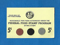FOOD STAMP COUPON 1C 5C 25C A&P SCRIP UNC  5¢ STORE Credit SLIP USDA COUPON