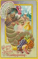 THANKSGIVING – Cornucopia and Turkey - 1909