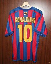 #10 RONALDINHO BARCELONA FC Football SHIRT Jersey size L Tricot Camiseta SPAIN