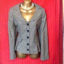 40s Dogtooth Check Jacket Peplum WW2  Wool Blend Alex & Co Business Size 12 New