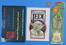 STICKER PAIR & BOOKMARK '83 vtg Star Wars ROTJ fan club Yoda YUB NUB MTFBWY