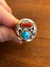 Navajo Mens Turquoise & Red Coral L. Spencer Ring Size 15.5 Native American # A
