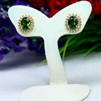 NATURAL 5 X 7 mm. OVAL GREEN CHROME DIOPSIDE & CZ EARRINGS 925 STERLING SILVER