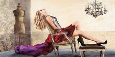 Sergio Jannace: Fashionable Keilrahmen-Bild 50x100 Leinwand Frau Mode