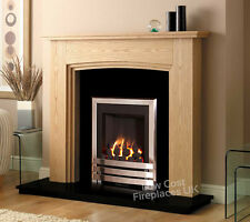 GAS OAK SURROUND BLACK MARBLE GRANITE MODERN CHROME SILVER FIRE FIREPLACE 48""