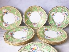 Antique Cauldon 9 inch dessert plate x1, green and gilt made for Harrods