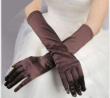 Paire de gants longs satin pour mariage : LONG 40 cm - coloris marron