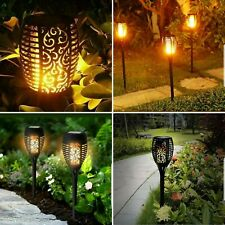 4 Pack Flame Effect Warm White LED Solar Flickering Garden Lights Torch