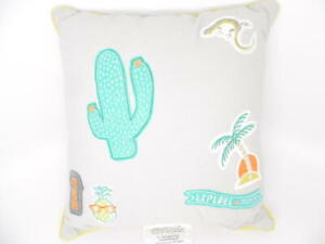 "Pillowfort Badges Decorative Throw Pillow Kids' Room Fun Decor (16""x16"") Gray"