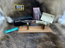 Buck 110 Knife With Elk Handles & 24kt Gold Cut-Out & Leather Sheath - Mint Box