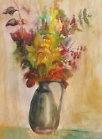 Vintage impressionist watercolor painting still life with flowers signed