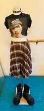 Vintage 1980's Brown Plaid Pleated Wool Punk Twin Peaks School Style Skirt Med