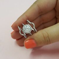 2.00 Ct Bridal Diamond Engagement Ring 18K White Gold Round Band Set Size M N O